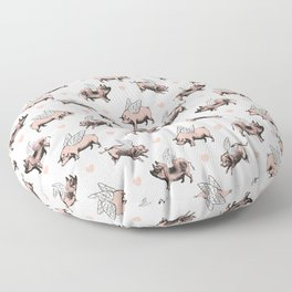 Flying Pigs | Vintage Pigs with Wings | Floor Pillow