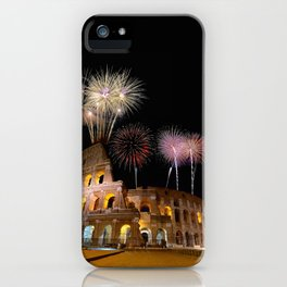 Colosseum illuminated with fireworks in Rome. iPhone Case