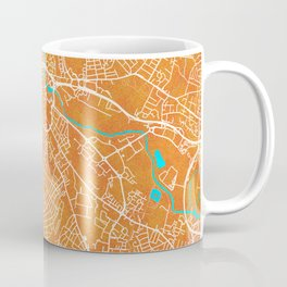 Derby, England, Gold, Blue, City, Map Coffee Mug