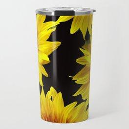 Large Sunflowers on a black background - #Society6 #buyart Travel Mug