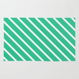 Turquoise Green Diagonal Stripes Rug