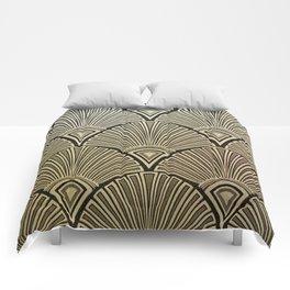 Golden Art Deco pattern Comforters