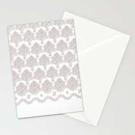 Off-White Damask Chenille with Lace Edge Stationery Cards