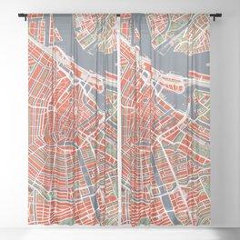 Amsterdam city map classic Sheer Curtain