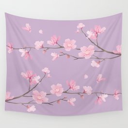 Cherry Blossom - Pale Purple Wall Tapestry