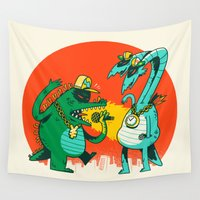 rap Wall Tapestries featuring Kaiju Rap Battle by Morkki