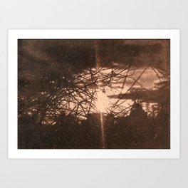 Sunset over the Mill_brown vintage style Art Print