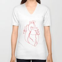anatomical heart V-neck T-shirts featuring Anatomical heart by Laurel Howells