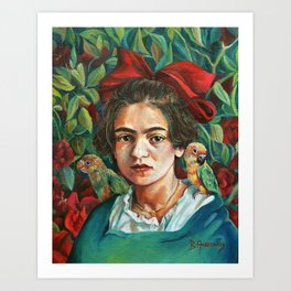 Young Frida Kahlo with Parrots Art Print