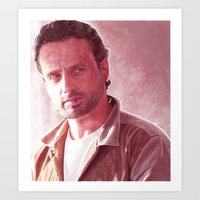rick grimes Art Prints featuring Rick Grimes by p1xer