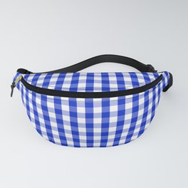 Cobalt Blue and White Gingham Check Plaid Squared Pattern Fanny Pack