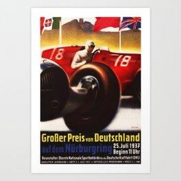1937 Grand Prix Motor Racing Nurburgring Germany Vintage Advertising Poster Art Print