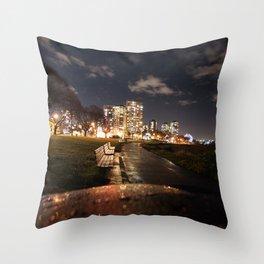 English Bay Long Exposure Throw Pillow
