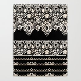 Seamless lace lacy washi tapes ribbon pattern on black background texture Poster