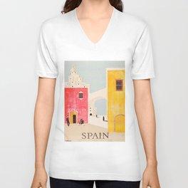 Spain Vintage Travel Poster Mid Century Minimalist Art Unisex V-Ausschnitt