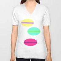 macaron V-neck T-shirts featuring Macaron...C'est si Bon! by Alexandria Nolandia