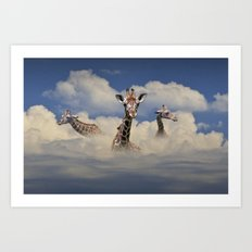 Heads above the Clouds with 3 Giraffes Art Print