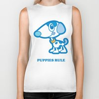 puppies Biker Tanks featuring Puppies Rule by Planet Perfect