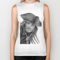 jack sparrow Biker Tanks featuring Captain Jack Sparrow by Celeste Roddom