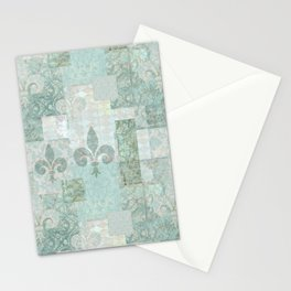 teal baroque vintage patchtwork Stationery Cards