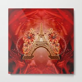 The eiffel tower with flowers Metal Print