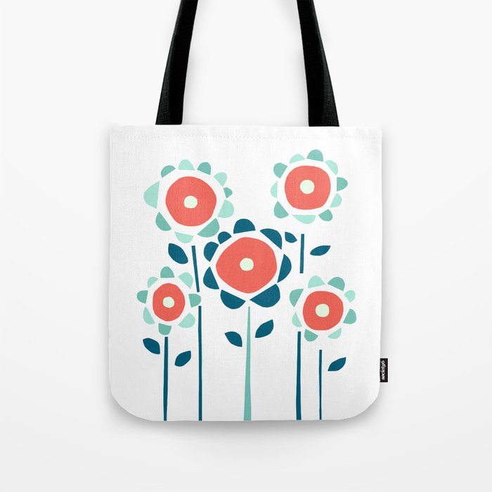 Coral and Aqua Garden of Flowers Tote Bag