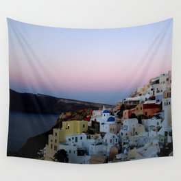 Dawn of Santorini Greece Wall Tapestry