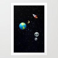 emoji Art Prints featuring Space Emoji by jajoão