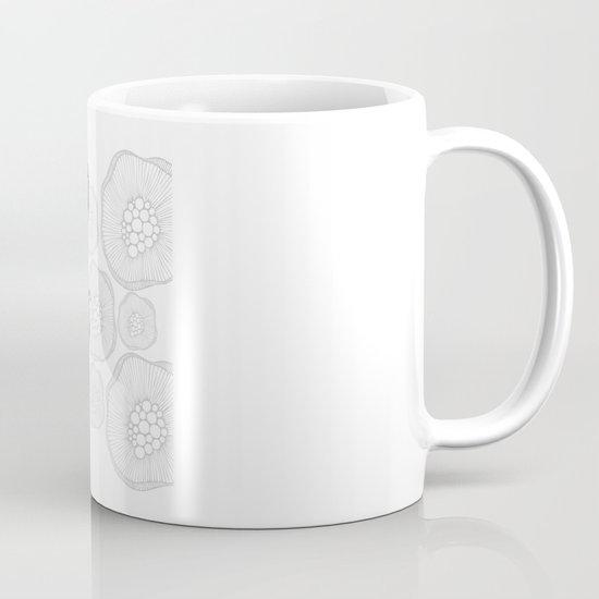 Octopus Bloom black and white Mug