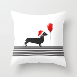 Dog With Hat Throw Pillow