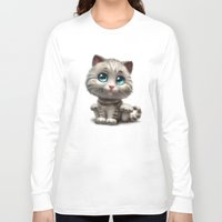 kitten Long Sleeve T-shirts featuring Kitten by Antracit