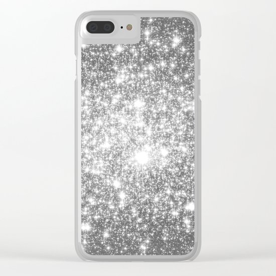 Silver Gray Galaxy Sparkle Stars Clear iPhone Case