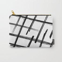 Criss Cross B+W Print Carry-All Pouch