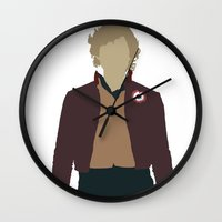 les miserables Wall Clocks featuring Enjolras - Aaron Tveit - Les Miserables Minimalist design by Hrern1313
