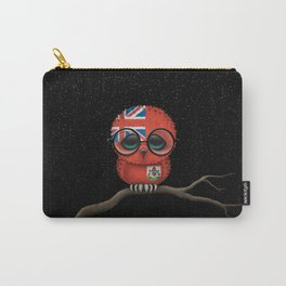 Baby Owl with Glasses and Bermuda Flag Carry-All Pouch