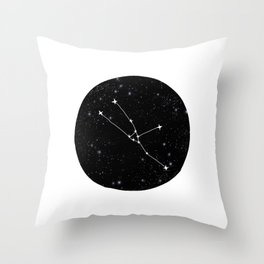 Taurus constellation black and white minimal star chart stars outer space astronomy Throw Pillow