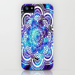 Mandala : Bright Violet & Teal Galaxy iPhone Case