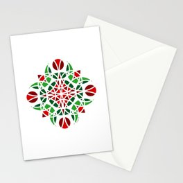 #7 Geometric Floral Ornament Green And Orange Stationery Cards