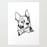 Bow Tie BostonTerrier Black and White Art Print