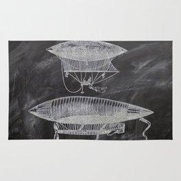 chalkboard art victorian steampunk hot air balloon airship patent print Rug
