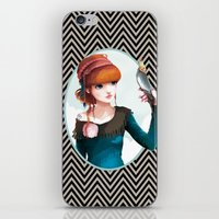 et iPhone & iPod Skins featuring Rose et l'oiseau by Ludovic Jacqz
