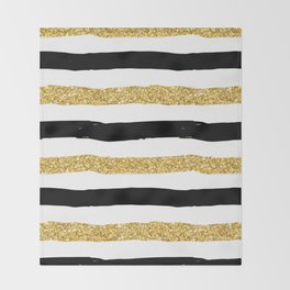 Black and Gold Glitter Brushstroke Stripes Throw Blanket