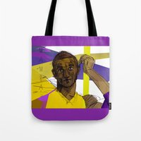 kobe Tote Bags featuring Kobe Bryant: SO CHILL by Maddison Bond