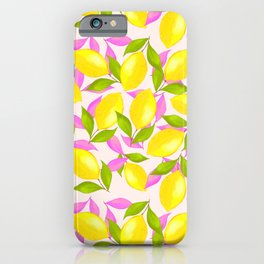 Lemon Pattern with Pink and Green Leaves iPhone Case
