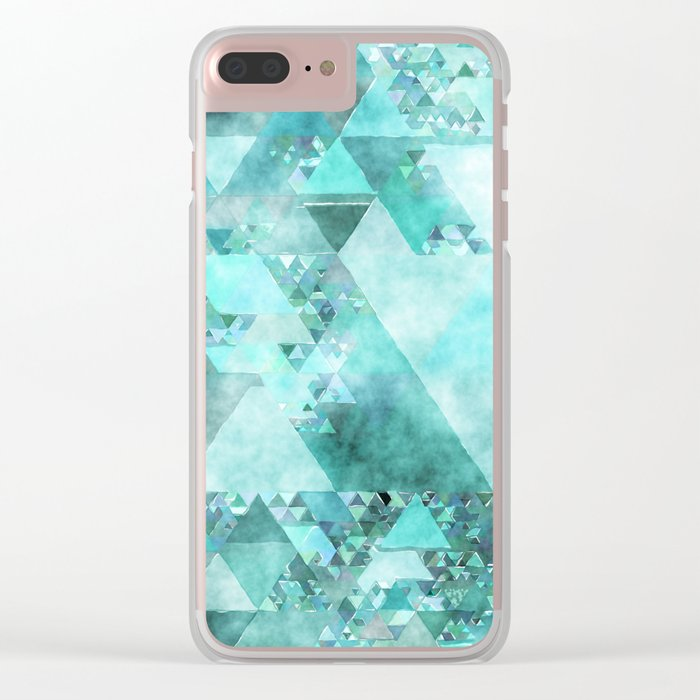 Triangles in aqua - Modern turquoise green blue triangle pattern Clear iPhone Case