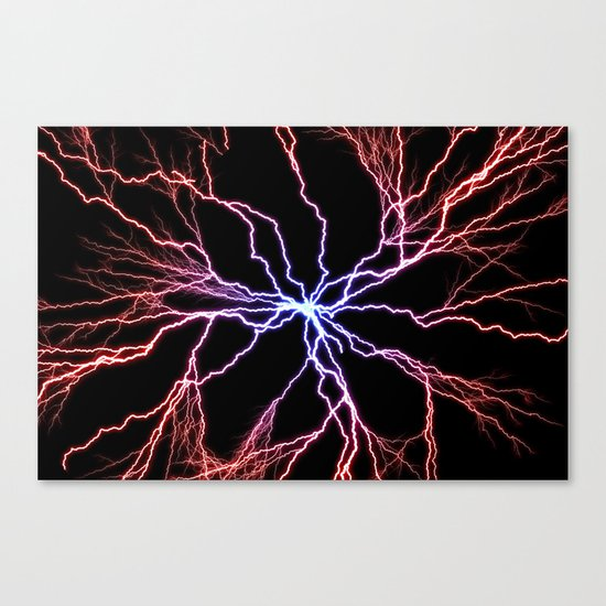 Electrical Lightning Discharge Blue to Red Canvas Print