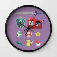 video games Wall Clocks featuring video games by Black