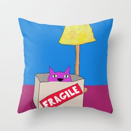 Purple Cat is Fragile Throw Pillow