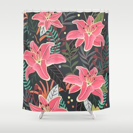 Aloha at Night floral flower illustration Shower Curtain
