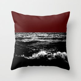 Black Wave w/Dark Red Horizon Throw Pillow